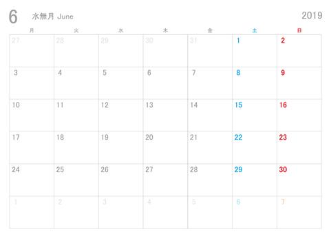 2019年6月カレンダー月曜始まり