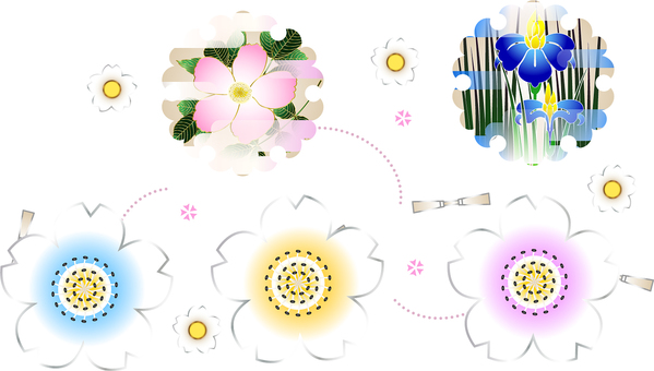 ai Japanese style · cherry blossoms and 5 sets of snow rings