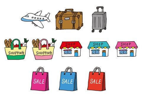 Travel, business trip, shopping icon set