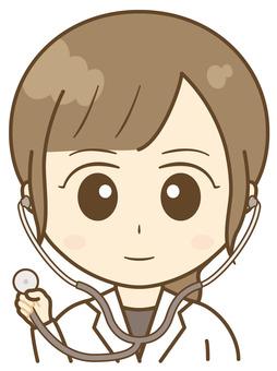 Female white cloth stethoscope 2