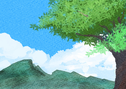 Watercolor Blue Sky Tree Mountain