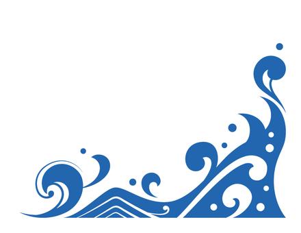 波のコーナー用フレーム素材_青