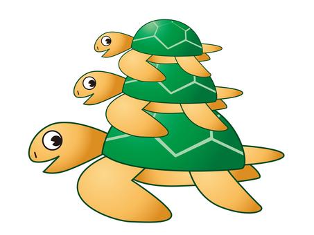 海龜父母和孩子
