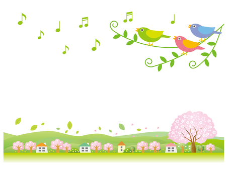 Spring landscape singing by little birds White