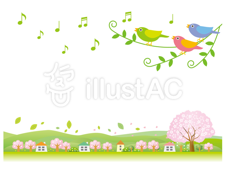 小鳥が歌う春の風景ホワイトのイラスト