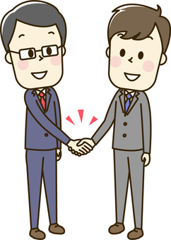 Male's 2-1 shaking hands in a suit