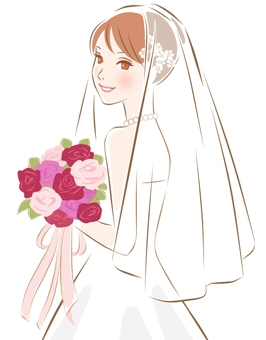 Bride pink with autumn bouquet
