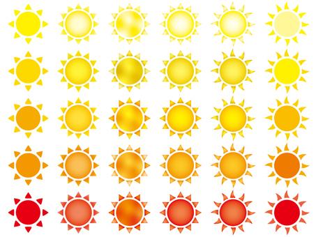 Simple and beautiful sun illustration set