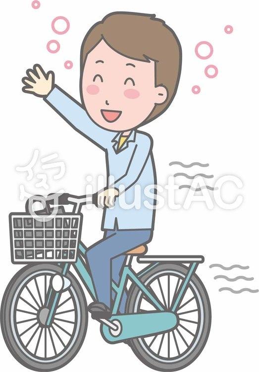 自転車男性-自転車飲酒-全身のイラスト