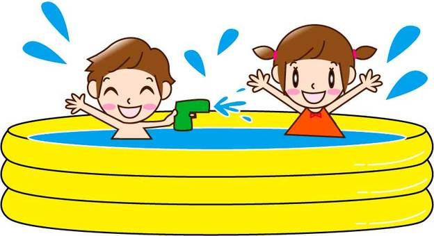 Two men and women playing in a vinyl pool