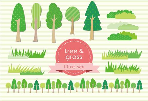 Illustration of tree and grass set