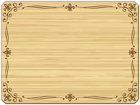 木目調フレーム、ボード飾り枠素材イラスト