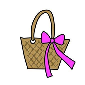Basket bag with ribbon