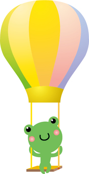 Cute smiley frog on a balloon swing