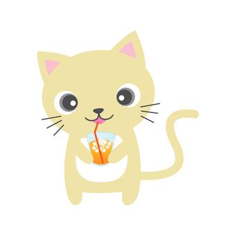 ジュース飲む猫