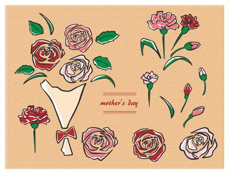 Hand drawn mother's day 2 set Black line color bouquet