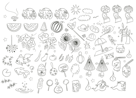 Japanese style summer material hand drawn