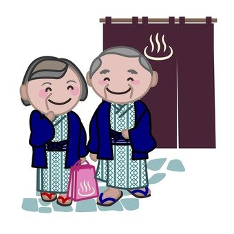 An old couple coming out of a hot spring