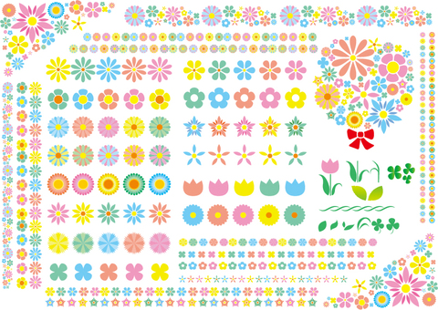 Icons of various flowers Frame line material collection