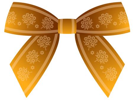 Bow-tied ribbon (gold tea · flower pattern)