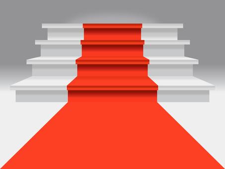 Red carpet stairs podium