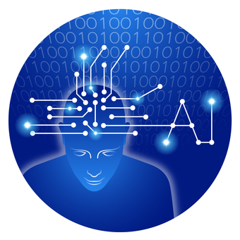 Artificial intelligence (AI) image Round icon