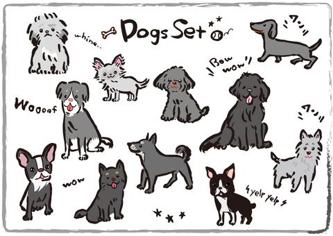 Black dog illustration set