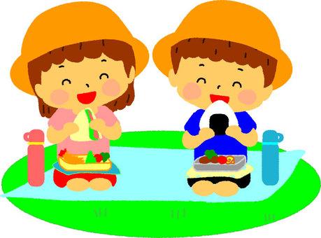 男孩和女孩遊覽盒午餐