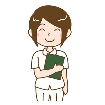 A nurse with a medical record