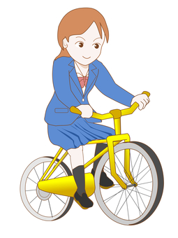 School girls riding a bicycle