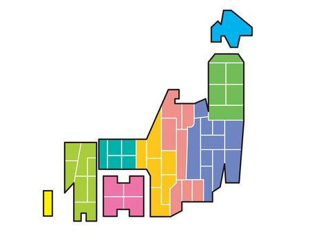 日本地圖顏色編碼