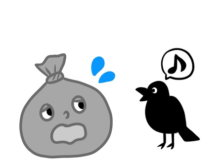 Garbage and crow