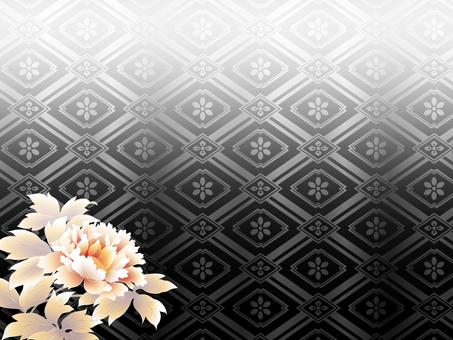 Black background lattice pattern and peony background