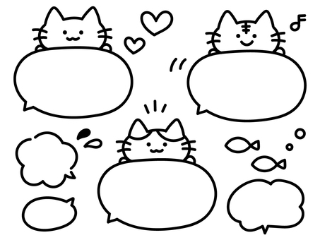 [No color] Speech balloon set with cat