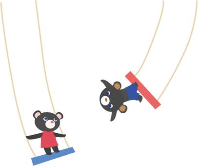 Black bear in the air swing
