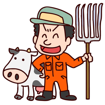 Illustration of a dairy farmer