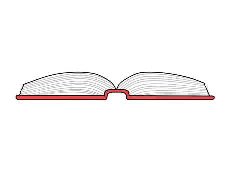 Illustration of a red book opened and put