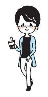 Illustration of men with black hair glasses