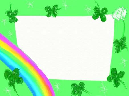 Rainbow and clover frame