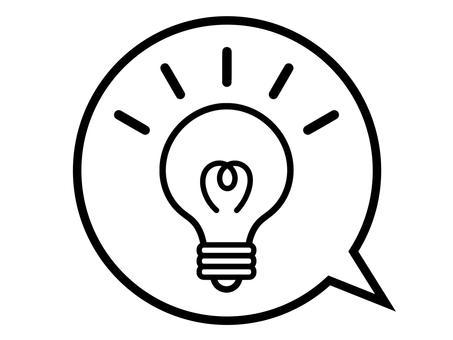 Light bulb electric inspiration speech bubble