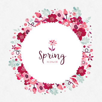 Spring background frame 042 flower water color garland