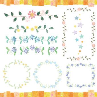 葉っぱとお花のライン枠