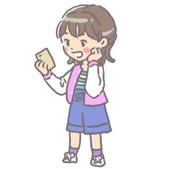 A girl who looks happy with a smartphone