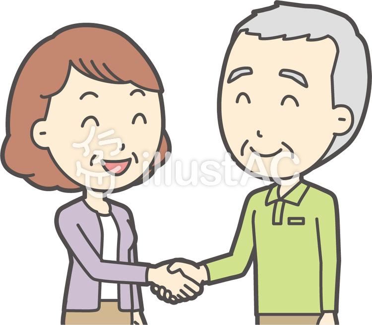 老人男性握手-039-バストのイラスト
