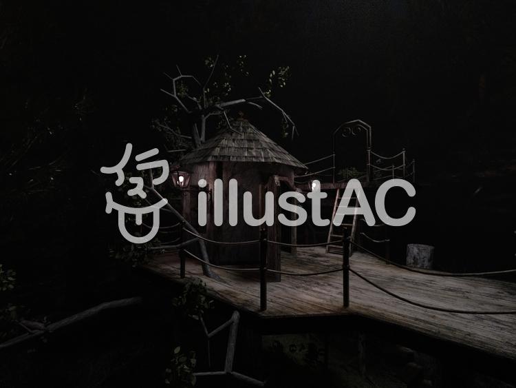 ツリーハウスの夜のイラスト
