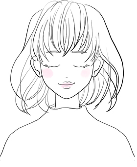 Line drawing of a woman seen from the front