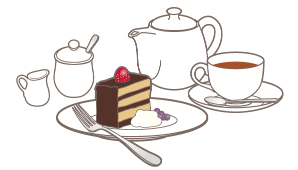 Cake & tea set _ chocolate cake