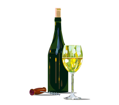 White wine and bottle and opener