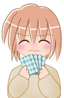 Girls playing card games Worried face