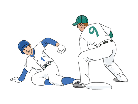 Athlete who slides to base 1